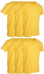 6 Bulk Mens Yellow Cotton Crew Neck T Shirt Size Small