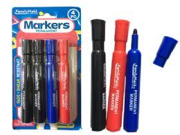 144 Bulk Permanent Markers 4pc 3 Clr