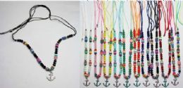 120 Bulk Beaded Necklace with Anchor Medallion Assorted Colors