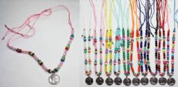 120 Bulk Beaded Necklace With Coin Medallion Assorted Colors