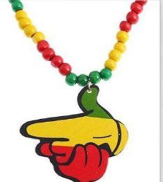 120 Bulk Rasta Colors Handgun Shape Necklace