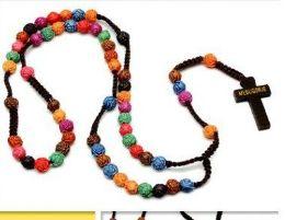 60 Bulk Multi Rose Bead Rosary Necklace
