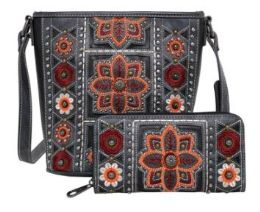 2 Bulk American Bling Wing Embroidered Crossbody And Wallet Set Black