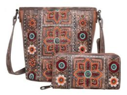 2 Bulk American Bling Wing Embroidered Crossbody And Wallet Set Brown