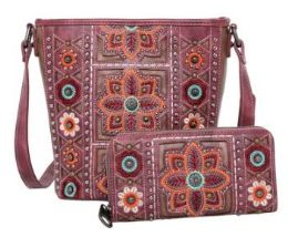 2 Bulk American Bling Wing Embroidered Crossbody And Wallet Set Coffee
