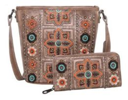 2 Bulk American Bling Wing Embroidered Crossbody and Wallet Set TAN