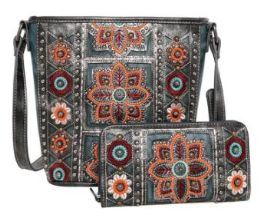 2 Bulk American Bling Wing Embroidered Crossbody And Wallet Set Turquoise