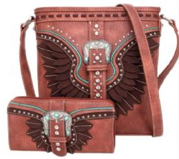 2 Bulk Buckle And Feather Style Cross body With Match Wallet Set Brown