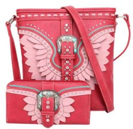 2 Bulk Buckle And Feather Style Cross body With Match Wallet Set