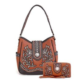 2 Bulk Rhinestone Embroiled Western Purse With Wallet Brown