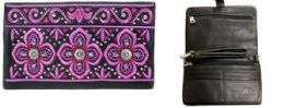 4 Bulk Purple Floral Embroidered Clutch Sling Purse