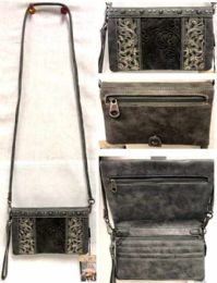 4 Bulk Gray Tooled Design American Bling Clutch Purse