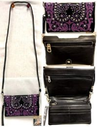 4 Bulk Purple Embroidered Floral American Bling Clutch Purse