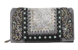 4 Bulk Montana West Tooled Floral Wallet Black