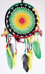 12 Bulk Rasta Crochet Dream Catcher 8 Inches