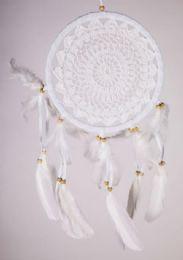 12 Bulk 8 inch Crochet White Dream Catcher