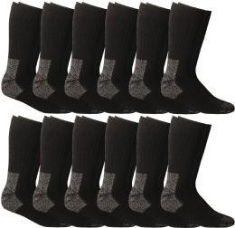 12 Bulk Yacht & Smith Men's Heavy Duty Steel Toe Work Socks, Black, Sock Size 10-13