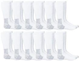 12 Bulk Yacht & Smith Men's Heavy Duty Steel Toe Work Socks, White, Sock Size 10-13