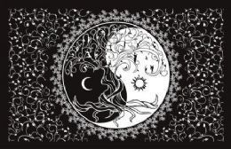 5 Bulk Black and White Sun Moon Graphic Tapestry