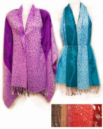 24 Bulk Large Pashmina with Leopard Pattern Assorted