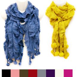 36 Bulk Knitted Solid Color Ruffle Scarves With Ball Fringes