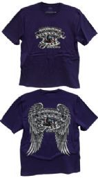 24 Bulk Purple Tshirts with American Angel Forever Biker Prints