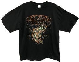 24 Bulk Black T Shirt Eat Sleep Fish Assorted Plus Sizes