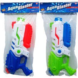 """12 Bulk 14.75"""" WATER GUN W/PUMP ACTN IN POLY BAG W/HEADER, 2 ASST"""