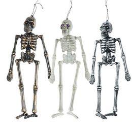 36 Bulk Skeleton 16in 3asst Finish W/gem Eyes Blow Molded Hlwn ht