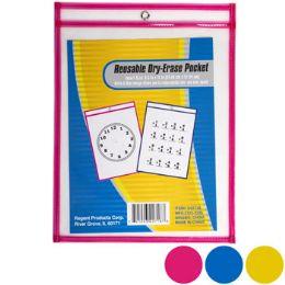 36 Bulk Dry Erase Pocket Reusable 3asst Colors 13.66 X 10.28in/paper