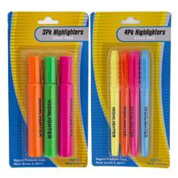 36 Bulk Highlighter 3pk/4pk Multicolor Stationary Blister Card