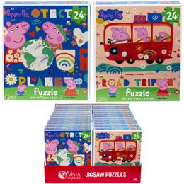 24 Bulk Puzzle 24pc Peppa Pig 2 Titles In Pdq Size 10.3x9.1
