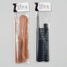 72 Bulk Comb Set 3pc Professional 3 Different Styles 2 Colors