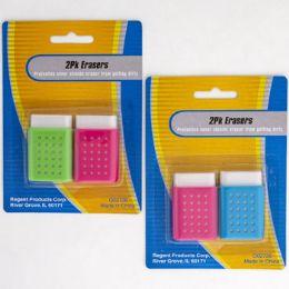 48 Bulk Eraser 2pk W/protective Case 1.25x2in Ea 2asst Color Combos