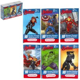 24 Bulk Pocket Tissue 6pk Marvel Avengers Asst 2ply 10ct White