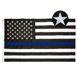 10 Bulk Embroidered Blue Line Flag