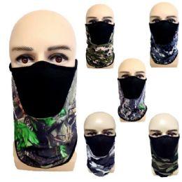24 Bulk Half Face Mask Gaiter/Buff Camo Assortment with Mesh