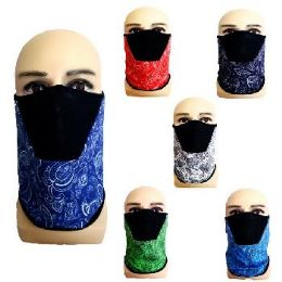 24 Bulk Half Face Mask Gaiter Buff Paisley with Mesh