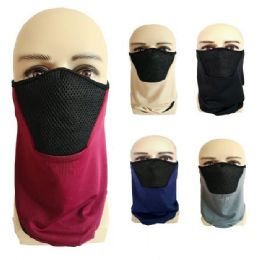24 Bulk Half Face Mask Gaiter Buff Solid Color with Mesh