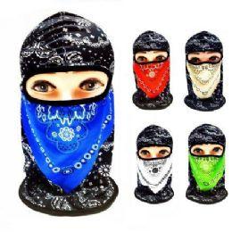 48 Bulk Ninja Face Mask Two-Tone Paisley with Mesh