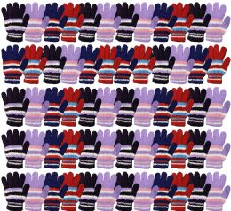 120 Bulk Yacht & Smith Womens Warm Assorted Colors Striped Fuzzy Gloves