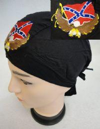 48 Bulk Embroidered Skull Cap Eagle With Rebel Flag