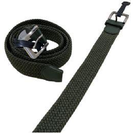 36 Bulk Braided Stretch Belt Army Green All Sizes