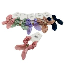 72 Bulk 1 Piece Printed Solid Scrunchie With Tails