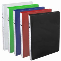 12 Bulk 1 Inch Flexible Binder With Two Pockets - Assorted Colors