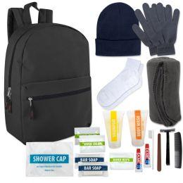 12 Bulk Warm Essential Hygiene Kit Includes Backpack, Socks, Blanket, Hat, Gloves & 15 Toiletries