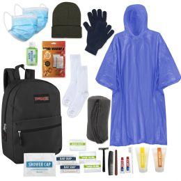 12 Bulk Premium Warm Hygiene Kit Includes Backpack, Socks, Blanket, Hat, Gloves, Sanitizer, Rain Poncho, Hand Warmers & 15 Toiletries