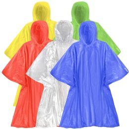 200 Bulk Disposable Rain Ponchos - 5 Colors