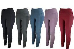 12 Bulk Womens Stretch Long Leggings In Assorted Colors