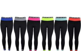 12 Bulk Womens Love Stretch Long Leggings In Assorted Colors